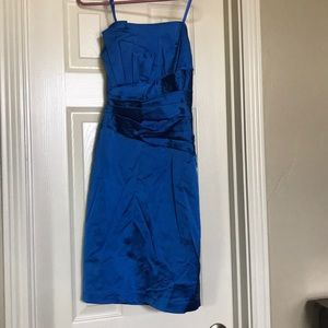 Blue, strapless cocktail dress. Worn once.